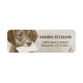 Vintage Dog Carrying Letter Return Address Label