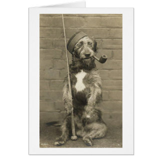 Vintage Dog in Bell Cap with Pipe, Card