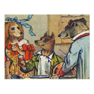 Vintage Dogs Dress for Doggy Mealtime Postcard