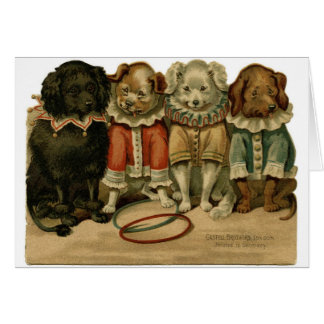 Vintage Dogs in Clown Suits, Card