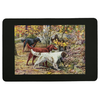 Vintage Dogs Setter Trio Black Floor Mat