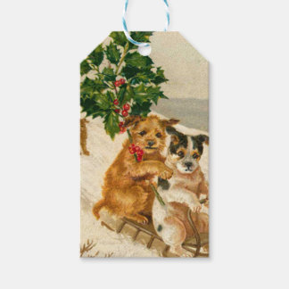 Vintage Dogs Sledding With Holly Christmas Pack Of Gift Tags