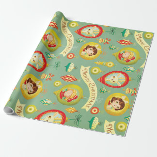 Vintage Dolls & Reindeer Christmas Wrapping Paper