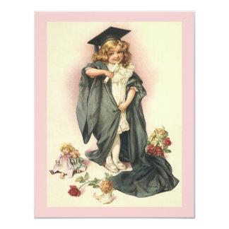 "Vintage Dolls Roses Graduation 2012 Sweet Pink Ver 4.25"" X 5.5"" Invitation Card"