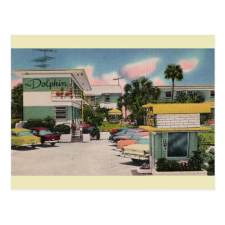 Vintage Dolphin Motel Daytona Beach Postcard