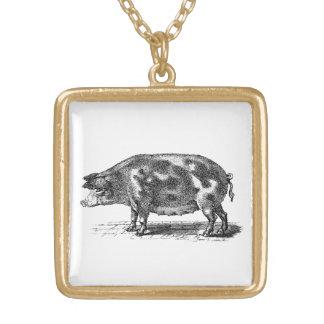 Vintage Domestic Pig Illustration - 1800's Hogs Gold Plated Necklace