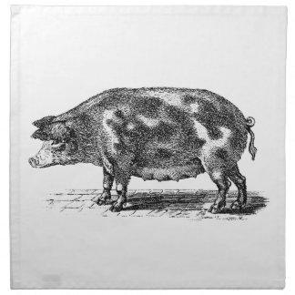 Vintage Domestic Pig Illustration - 1800's Hogs Napkin