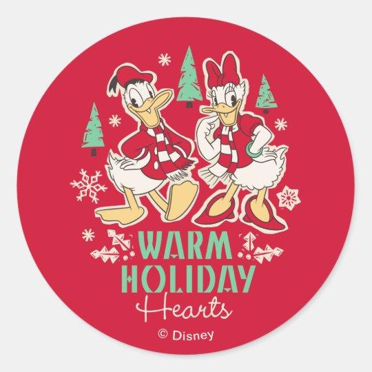 Vintage Donald & Daisy | Warm Holiday Hearts Classic Round Sticker