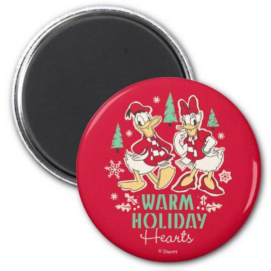Vintage Donald & Daisy | Warm Holiday Hearts Magnet