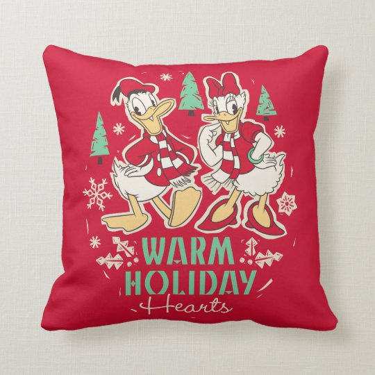 Vintage Donald & Daisy | Warm Holiday Hearts Throw Pillow