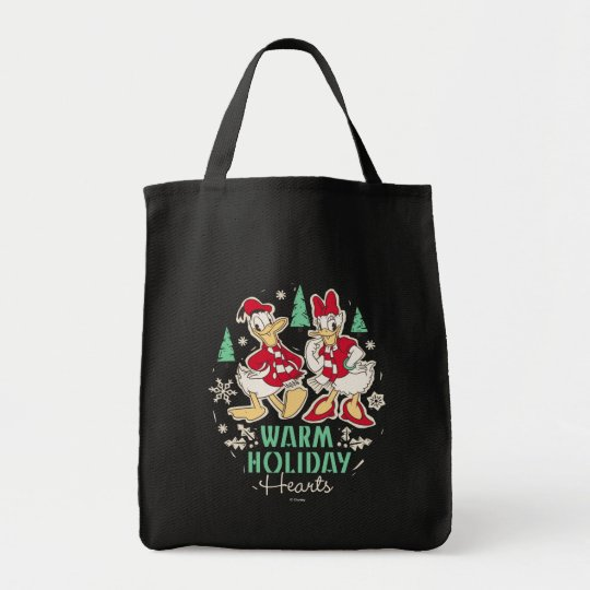 Vintage Donald & Daisy | Warm Holiday Hearts Tote Bag