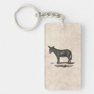 Vintage Donkey Illustration -1800's Donkeys Keychain