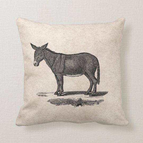 Vintage Donkey Illustration -1800's Donkeys Throw Pillow