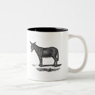 Vintage Donkey Illustration -1800's Donkeys Two-Tone Coffee Mug