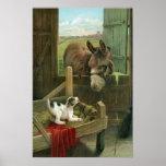 Vintage Donkey & Puppy Dog in Manger Old Barnyard Poster