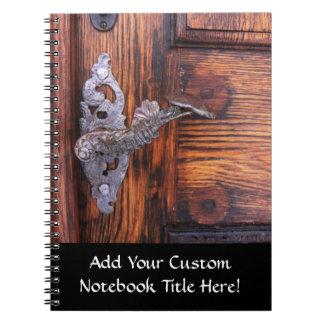 Vintage Door Handle, Aged Wood Real Estate Notebook