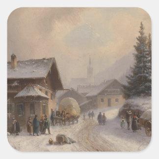 Vintage Dorfstr Germany in Winter Square Sticker