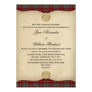 Vintage Douglas Ancient Red Tartan Plaid Wedding Card