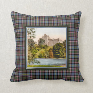 Vintage Doune Castle Stirling Bannockburn Tartan Throw Pillow