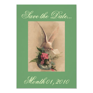 Vintage Dove and Flowers Invitations
