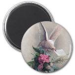 Vintage Dove Delivering Flowers Fridge Magnet