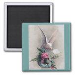 Vintage Dove Delivering Flowers Magnets