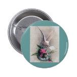 Vintage Dove Delivering Flowers Pinback Buttons