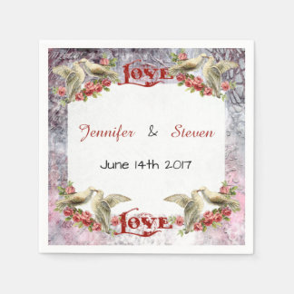 Vintage Dove Wedding Paper Napkins