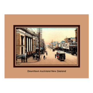 Vintage Downtown Auckland New Zealand Postcard