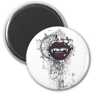 vintage dracula lips 2 inch round magnet