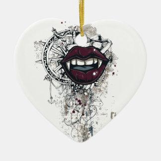 vintage dracula lips ceramic heart ornament