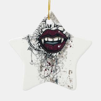 vintage dracula lips ceramic star ornament