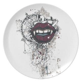 vintage dracula lips plate