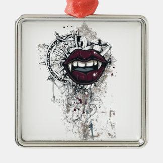 vintage dracula lips Silver-Colored square ornament