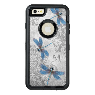 Vintage Dragonflies with Custom Monogram OtterBox Defender iPhone Case