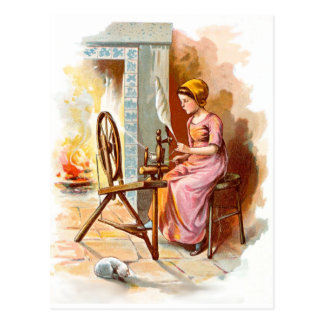 Vintage Drawing: Girl with a Spinning Wheel Postcard