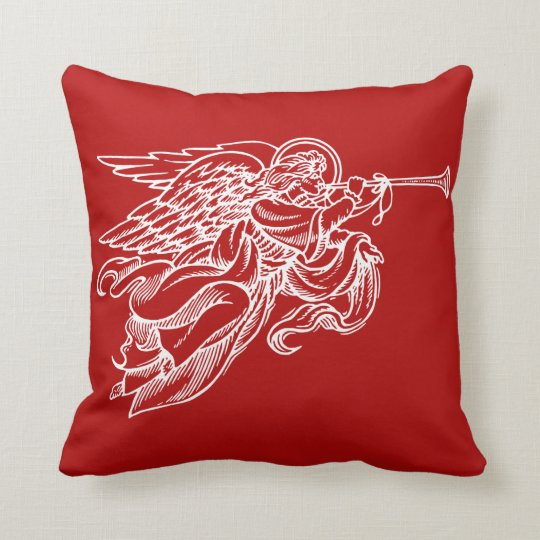 Vintage drawing of angel on red Christmas pillow