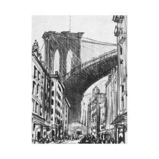 Vintage Drawing of Brooklyn Bridge Tenements Canvas Print