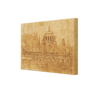 Vintage drawing of cathedral canvas print