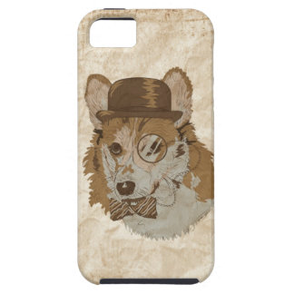 Vintage Drawing of Corgi with hat monocle and bowt iPhone 5 Covers