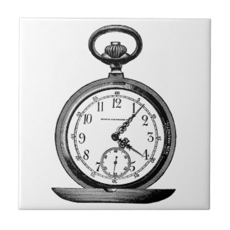 Vintage drawing OF pocket watch (19th century) Tile