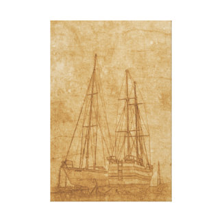 Vintage drawing of yacht club canvas print