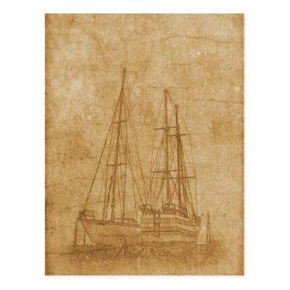 Vintage drawing of yacht club postcard