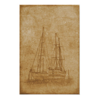 Vintage drawing of yacht club poster