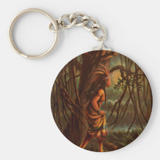 Vintage Drawing: Pocahontas, The Indian Princess Basic Round Button Keychain