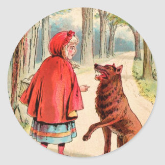 Vintage Drawing: Red Riding Hood and the Wolf Classic Round Sticker