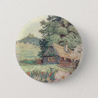 Vintage Drawing: Small Mountain Cottage in Spring 2 Inch Round Button