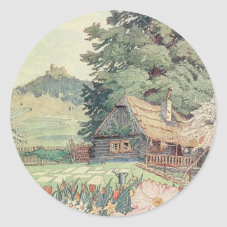 Vintage Drawing: Small Mountain Cottage in Spring Classic Round Sticker