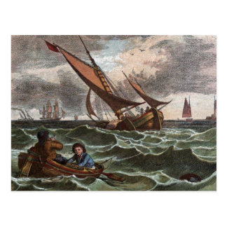 Vintage Drawing: Storm at Sea Postcard