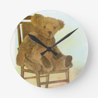 Vintage DRawing: Teddy Bear on a Chair Round Clock